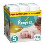 Pampers Premium Care 5 - JUMBO BOX 136 sztuki - rozmiar JUNIOR dla dzieci 11-18 kg