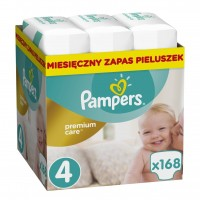 Pampers Premium Care 4 JUMBO BOX 168 sztuki opakowanie na cały miesiąc.