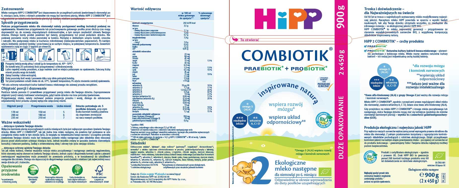 Hipp 2 900g ulotka producenta